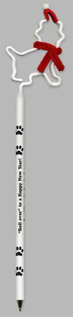 Puppy Dog With Santa Hat Promotional Pen, Fun, Shaped, Novelty Pens.